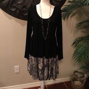 Dresses & Skirts - BRAND NEW Black and Beige Floral-Hem Tiered Dress